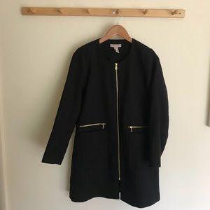 H&M Long Zip Up Coat Jacket Size 14 Lined Pockets